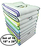 QuattroLink Premium Quality 100% Cotton Dish Kitchen Towels In Stunning White Waffle With Elegant Embroidery Motif with  Stripes, Large, Dark Green, Blue, Green, Purple and Yellow, Set of 10