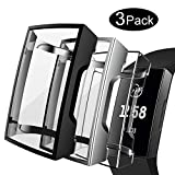 Compatible Fitbit Charge 3 Screen Protector(3-Pack),TPU Soft Accessory Case Frame Full Cover Shell Fitbit Charge 3 & 3 Se Case, Silver+Black+Crystal Clear