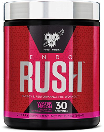 BSN Endorush Pre-Workout Powder, Watermelon Flavor Energy Supplement for Men and Women, 300mg of Caffeine, with Beta-Alanine and Creatine, 30 Servings