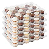 Houseables 24 Cupcake Containers, Plastic Compartment, Clear, 5 Pk, PET, Ultra-Sturdy Boxes, Full Size Cup Cake, Baking Transport, Individual Count, Disposable, Muffin Storage Tray, With 120 Liners