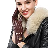 Nappaglo Women's Driving Leather Gloves Classic Lambskin Full-finger Motorcycle Open Back Unlined Gloves (Touchscreen or Non-Touchscreen) (M (Palm Girth:7