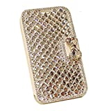 UnnFiko Galaxy S7 Edge Wallet Case, Handmade Luxury 3D Bling Crystal Rhinestone Leather Purse Flip Card Pouch Stand Cover Case for Samsung Galaxy S7 Edge (Crystal Clear)