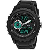 Men's Tactical Watch, Dual-Display Wrist Watch for Men Digital Sports Watch with Silicone Band