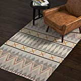 Rivet Southwestern Geometric Wool Runner Rug, 2' 6' x 8', Blue, Ivory, Yellow