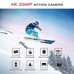 Campark X20 Action Camera Native 4K Ultra HD 20MP with EIS Stabilization Touch Screen Remote Control Waterproof Camera 40M 2 Batteries and Professional Accessories