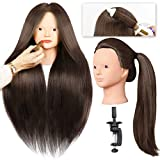 SILKY Mannequin Head with 40% Human Hair 28' Training Head with Clamp and Tools for Cosmetology Practice, Braide Hairdress Manikin Doll Head for Hair Styling - #4 Black No Make-up