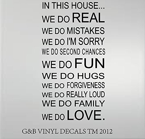 IN THIS HOUSE WE DO LOVE QUOTE VINYL WALL DECAL WORDS 20X37