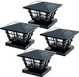 GreenLighting 5x5 Solar Powered Post Cap Light w/ 4x4 Base Adapter (Black, 4 Pack)