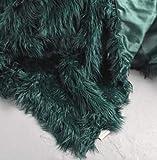 Cynthia Rowley Lush Plush Mongolian Lamb Wool Faux Fur Throw Blanket Fuzzy Fake Fur (Botanical Green)