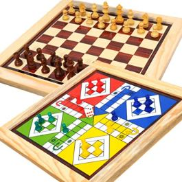 Pytho Chess and Ludo 2 in 1 Board Game | Wood-Crafted Magnetic Reversible Game Set | Size: 12 X 12 Inches, Pack Of 1…