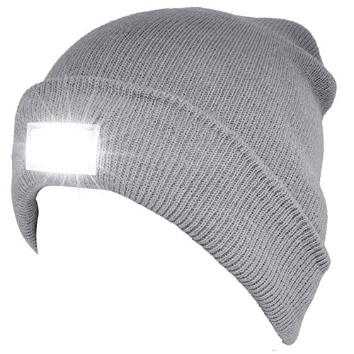 SnowCinda Unisex 5 LED Knitted Flashlight Beanie Hat/Cap for Hunting, Camping, Grilling, Auto Repair, Jogging, Walking, or Handyman Working - One Size Fits Most (Grey)