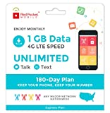 Red Pocket Mobile Express 180 Day Prepaid Phone Plan, No Contract, Free SIM Kit; Unlimited Talk, Unlimited Text & 1 GB of LTE Data - Only 21.25/Month