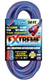 US Wire 98050 14/3 50-Foot SJEOW TPE Cold Weather Extension Cord Blue with Lighted Plug
