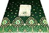 Shubham Collections Embroidered Taffeta Silk George Fabric/Wrapper with Matching Blouse 4046/10/188 (Green)