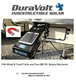 DuraVolt Fifth Wheel & Travel Trailer (Class B&C RV) Magnetic Battery maintainer 12 Volt 8.3 Watt - No Experience Plug & Play Design. Dimensions 11.8' L x 10.0' W x 1/4' Thick. 10' Cable.