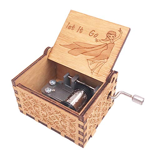 Frozen Music Box 18 Note Hand Crank Musical Box Carved Wooden,Play Let it Go,Brown