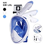 Unigear 180° Full Face Snorkel Mask -Panoramic View with Detachable for Camera Mount and Earplug,Anti-Fog Anti-Leak Snorkeling Design for Adults and Youth (White, S/M)