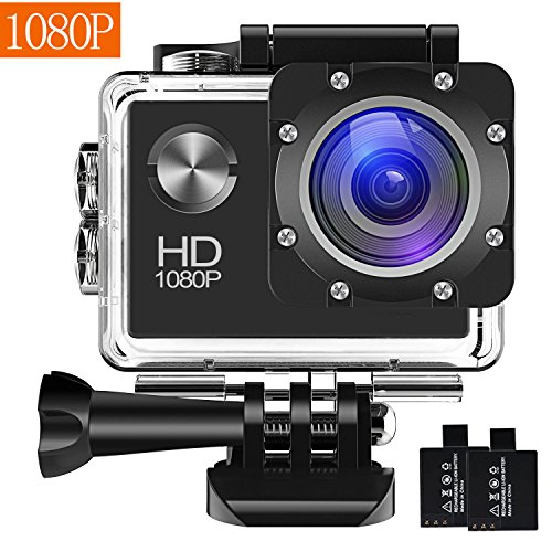 Action Camera 1080P 16MP Sports Cam – BUIEJDOG HD WiFi Waterproof Action Camcorder with 170°Wide Angle Lens 2 Rechargeable Batteries and Mounting Accessories Kits