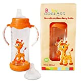 GoGlass Borosilicate 10 oz Glass Baby Bottle BPA Free With Included Nipple and Sippy Cup Spout - Best Feeding Bottles For Preemie, Newborns, Infants, and Toddlers Shower Gifts (Orange)