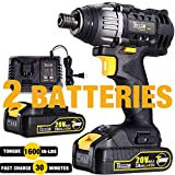 Impact Driver 20V, TECCPO 1600In-lbs Impact Drill, 2X2.0Ah Batteries, 1/4' All-metal Hex Chuck, 30 Minutes Fast Charger, 0-2900RPM Variable Speed, Tool Bag Included - TDID01P