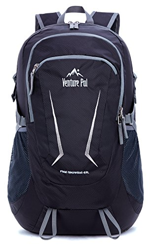 Venture Pal Large 45L Hiking Backpack - Packable Lightweight Travel Backpack Daypack for Women Men (Black)