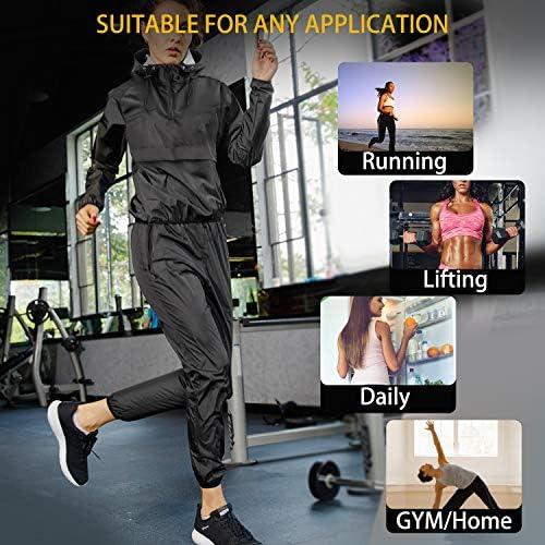 Junlan Sauna Suit for Women Sweat Sauna Pants Weight Loss Jacket Gym Workout Vest Sweat Suits for Women 7