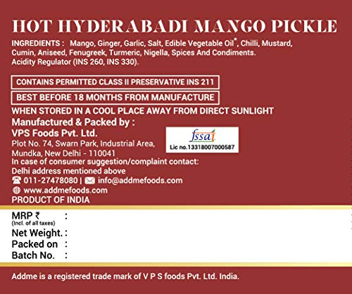 51F1QweJ5BL - Add me Hot Mango Pickle in Garlic Masala 1KG, Aam ka achar in lehsun adrak Glass jar 2 x 500gm