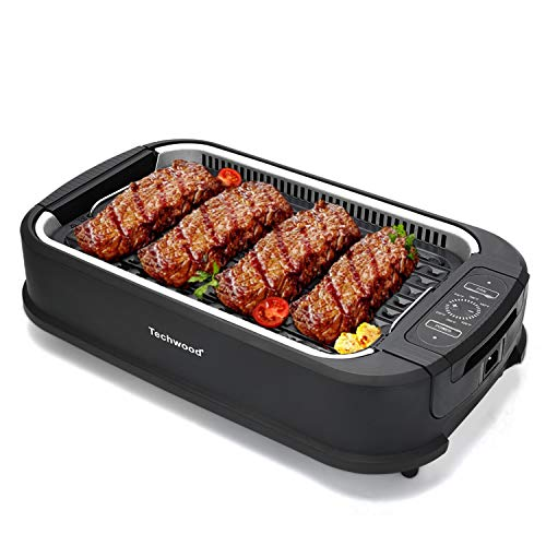Indoor Smokeless Grill Techwood 1500W Electric BBQ Grill with Tempered Glass Lid, Compact & Portable Non-stick BBQ Grill… 1