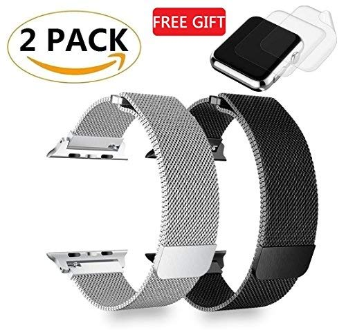 (2 Pack) ePlanet Watch Band 42mm 44mm Stainless Steel Loop Mesh Strap Compatible for iWatch Series 4 3 2 1 Bands 42mm Silver and Black - Plus 2x Screen Protector As Bonus