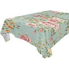 ALAZA Shabby Chic Vintage Floral,Rectangular Tablecloth for Dinner,Kitchen,Party,Picnic,Wedding,Restaurant or Banquet Use,Fall,Holidays,Thanksgiving,Halloween,Christmas,Tablecovers Spread,60x60 inch