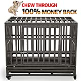 KELIXU 38' Heavy Duty Dog Crate Ultra-High Hardness Enhanced Steel Pet Kennel Playpen with Two Prevent Escape Lock, Large Dogs Cage with Four Wheels,Black