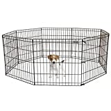 "PetPremium Dog Puppy Playpen Pen | Indoor Outdoor Exercise Play Yard Outside | Pet Small Animal Puppies Portable Foldable Fence Enclosures | 24"" Height, 8 Panel Metal Wire, Black"