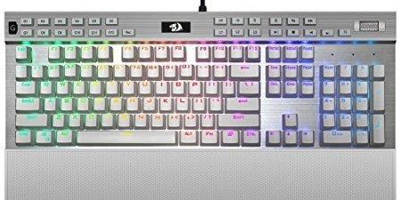 Mechanical Keyboard K550W Yama Redragon White Gaming Keyboard 104 Key RGB LED illuminated Backlit Computer PC Gaming Programmable Macro Keys, Wrist Rest, USB Passthrough, volume Control