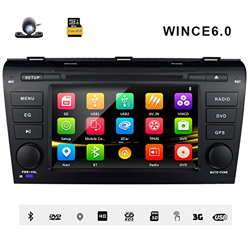 7 Inch Car Stereo Radio GPS Navigation System DVD Player Double Din in Dash HD Touch Screen Head Unit for Mazda 3 2004 2005 2006 2007 2008 2009 Support Navi Bluetooth SD USB FM/AM Radio 3G DVD 1080P