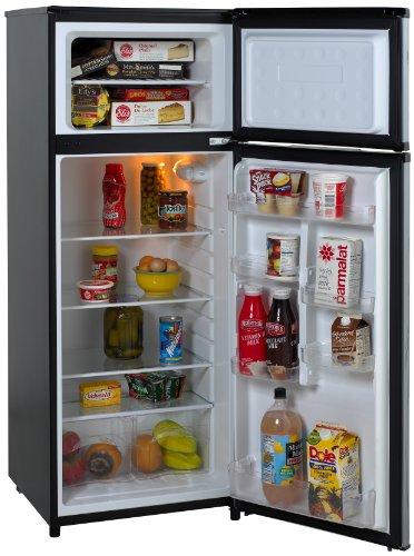 Avanti RA7316PST 2-Door Apartment Size Refrigerator, Black with Platinum Finish