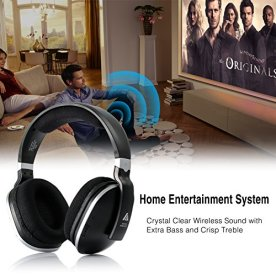 ARTISTE-Wireless-TV-Headphones-Over-Ear-Headsets-Digital-Stereo-Headsets-with-24GHz-RF-Transmitter-Charging-Dock-100ft-Wireless-Range-and-Rechargeable-20-Hour-Battery-Black