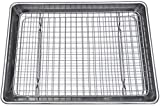Checkered Chef Quarter Sheet Pan and Rack Set 9.5 x 13 inches. Aluminum Cookie Sheet/Baking Sheet Pan with Stainless Steel Oven Safe Cooling Rack. Bonus Silicone Baking Mat Included.