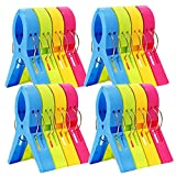 ESFUN 16 Pack Beach Towel Clips Chair Clips Towel Holder for Pool Chairs on Cruise-Jumbo Size,Plastic Clothes Pegs Hanging Clip Clamps to Keep Your Towel from Blowing Away,Fashion Bright Color
