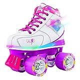 Crazy Skates Flash Roller Skates for Girls - Light Up Skates with Ultra Bright LED Lights and Flashing Lightning Bolt - White Patines (Size 1)