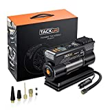 TACKLIFE Tire Inflator, DC 12V Digital Air Compressor Pump with Precision Gauge, 4 Nozzle Adaptors and Extra Fuse - Low Noise