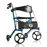 Hugo Mobility Sidekick Side-Folding Rollator Walker with Seat, Blueberry