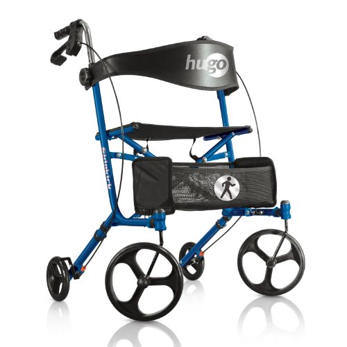 Hugo Mobility Sidekick Side-Folding Rollator Walker with Seat, Blueberry