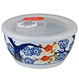 CtoC JAPAN Bowl Food storage Container with Lid plastic Cover Porcelain Size(cm) Diameter 12.6x6.3 ca113364