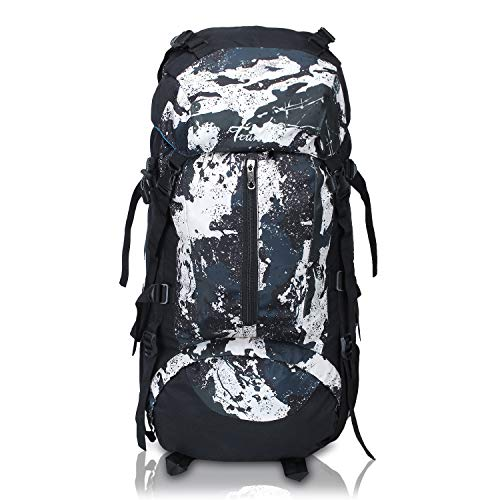 51FGi6cTNBL - Trunkit Waterproof Rucksack Travelling Trekking Hiking with Raincover (White Black, 65 L)