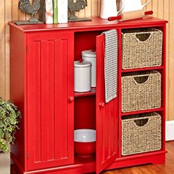 Beadboard Buffet Cabinet – Sideboard with Storage – Red