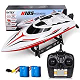 INTEY Remote Control Boat Racing for Pool and Lake, High Speed 25km/h Electric RC Boat Toys for Kids Adults, 2 Rechargeable Batteries, Upgrade