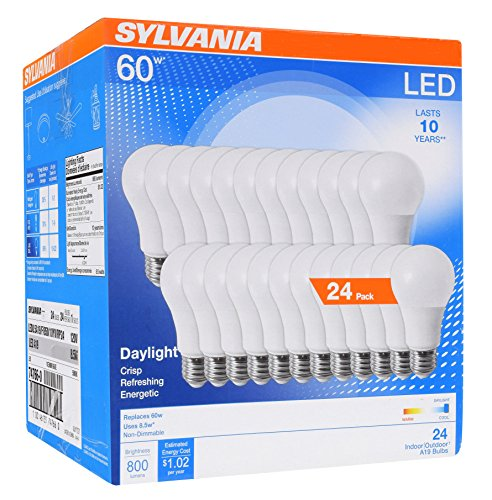 Sylvania Home Lighting 74766 Sylvania 60W Equivalent, LED Light Bulb, A19 Lamp, Efficient 8.5W, Bright White 5000K, 24 Pack, Piece