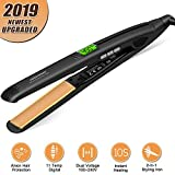【2019 Upgraded】Ceramic Tourmaline Hair Straightener,Dual Voltage Flat Iron for Hair with 3D Snag-proof Plate,2in1 Digital Hair Styling Iron,10s Fast Heating,11 Adjustable Temp,Auto Shut Off,1 inch