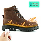 HMSPACES Men's Waterproof Rechargeable Electric Soft Toe Snow Cold Weather Heated Warm Work Boots Shoes (8.5, Brown)