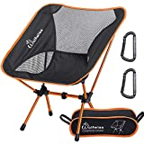 WolfWise Ultralight Portable Camping Chair, Compact Folding Backpacking Lounge Chairs for Outdoor Picnic Beach Hiking Fishing with Carry Bag and Two Carabiner, Black+Orange